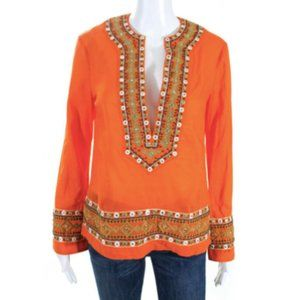 Tory Burch Mirror Embroidered Boho Tunic Blouse 2